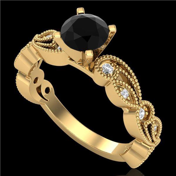 1.01 ctw Fancy Black Diamond Engagment Art Deco Ring 18k Yellow Gold - REF-87F3M