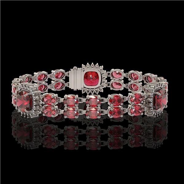 18.93 ctw Tourmaline & Diamond Bracelet 14K White Gold - REF-314G8W