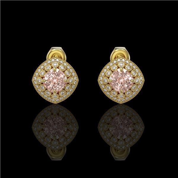 4.19 ctw Morganite & Diamond Victorian Earrings 14K Yellow Gold - REF-142Y8X