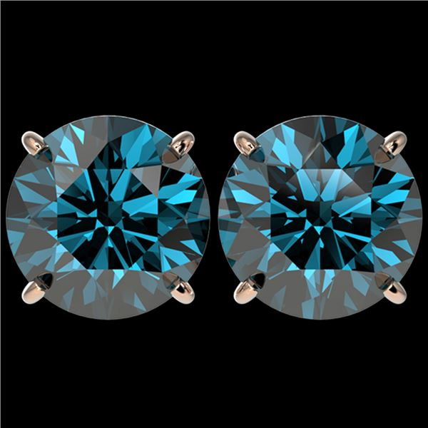 5 ctw Certified Intense Blue Diamond Stud Earrings 10k Rose Gold - REF-638F2M