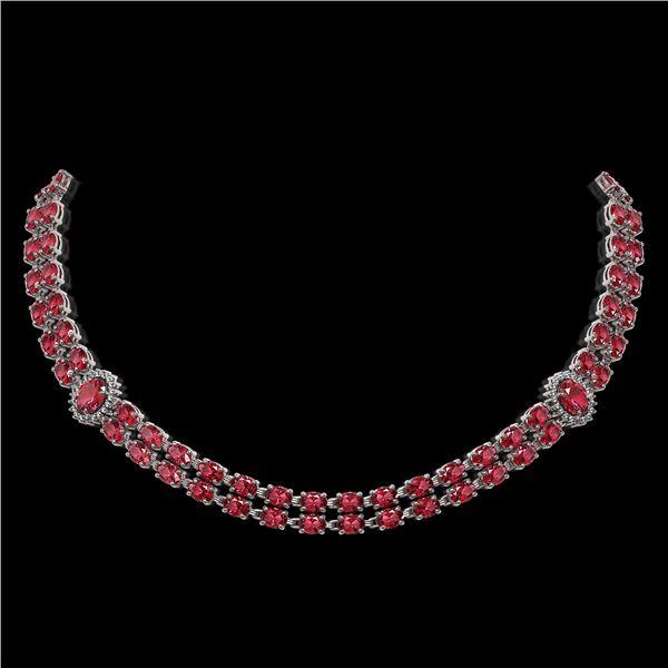 37.23 ctw Tourmaline & Diamond Necklace 14K White Gold - REF-527W3H