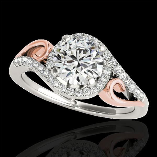 1.25 ctw Certified Diamond Solitaire Halo Ring 10k 2Tone Gold - REF-190G9W