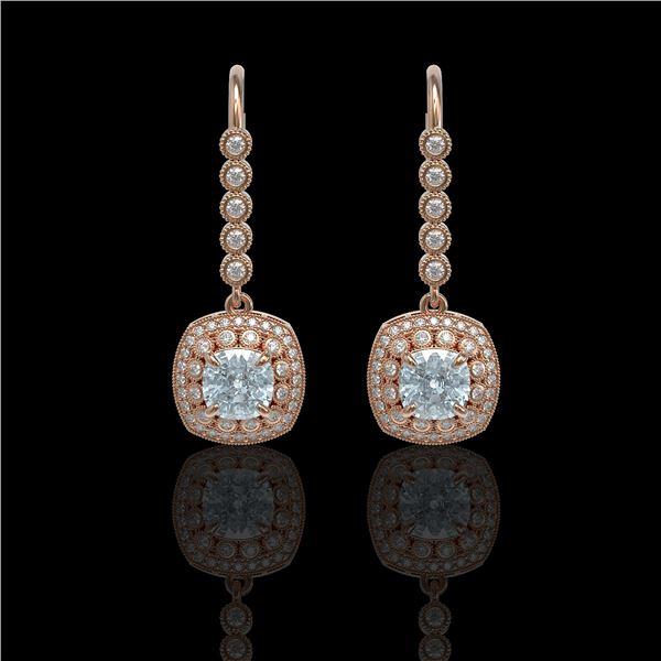 4.5 ctw Aquamarine & Diamond Victorian Earrings 14K Rose Gold - REF-172X8A