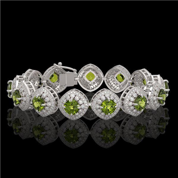 33.05 ctw Tourmaline & Diamond Victorian Bracelet 14K White Gold - REF-982F8M