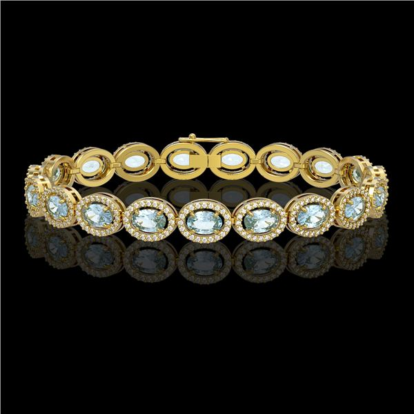 11.02 ctw Aquamarine & Diamond Micro Pave Halo Bracelet 10k Yellow Gold - REF-309A3N