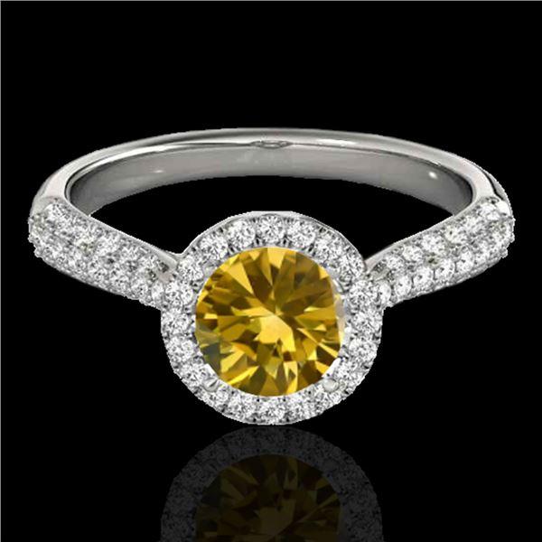 1.40 ctw Certified SI/I Fancy Intense Yellow Diamond Ring 10k White Gold - REF-204R5K