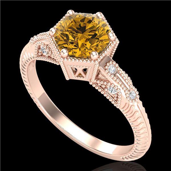 1.17 ctw Intense Fancy Yellow Diamond Art Deco Ring 18k Rose Gold - REF-180K2Y