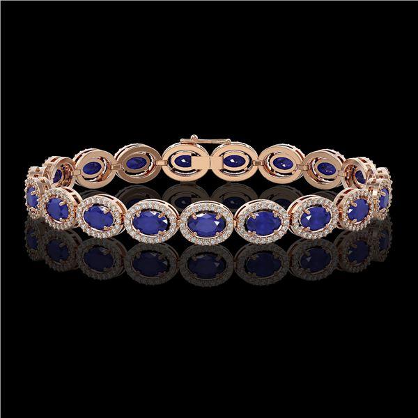 15.2 ctw Sapphire & Diamond Micro Pave Halo Bracelet 10k Rose Gold - REF-244N2F