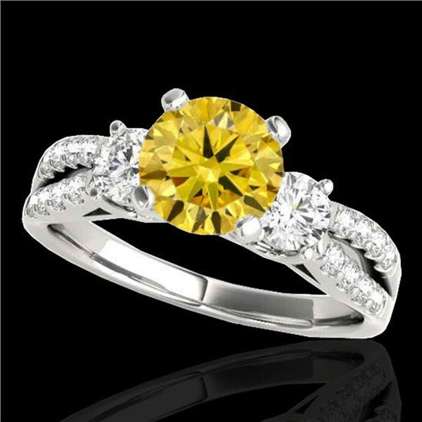 1.75 ctw SI/I Fancy Intense Yellow Diamond 3 Stone Ring 10k White Gold - REF-244H3R