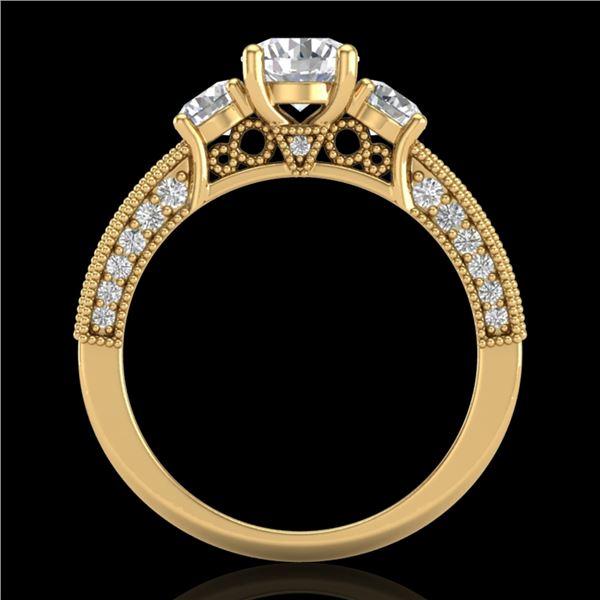 2.07 ctw VS/SI Diamond Solitaire Art Deco 3 Stone Ring 18k Yellow Gold - REF-270M2G