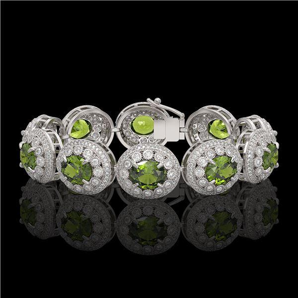 44.22 ctw Tourmaline & Diamond Victorian Bracelet 14K White Gold - REF-1342G4W
