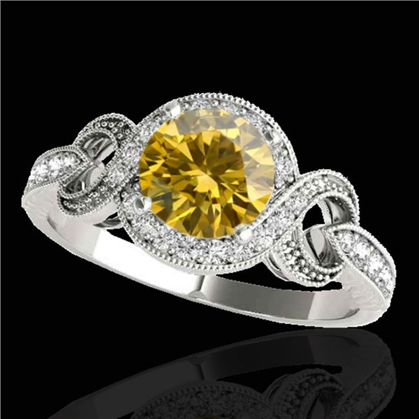 1.33 ctw Certified SI/I Fancy Intense Yellow Diamond Ring 10k White Gold - REF-190X9A