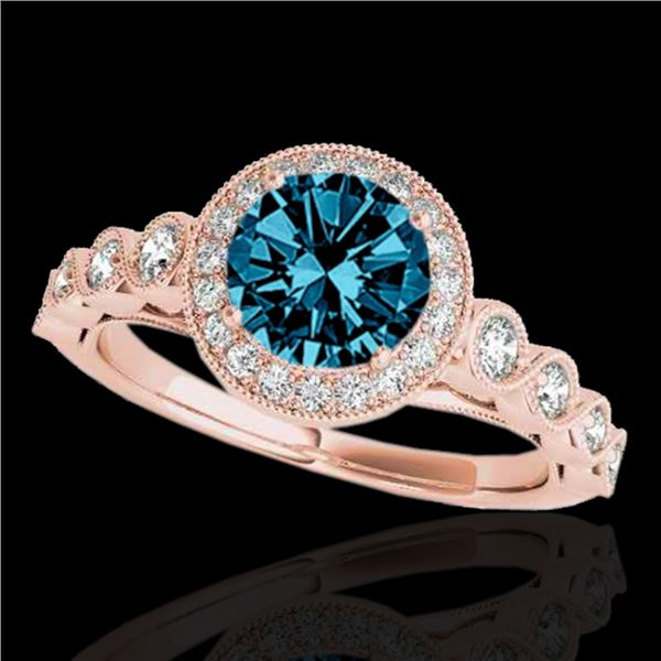 1.50 ctw SI Certified Fancy Blue Diamond Solitaire Halo Ring 10k Rose Gold - REF-133K6Y