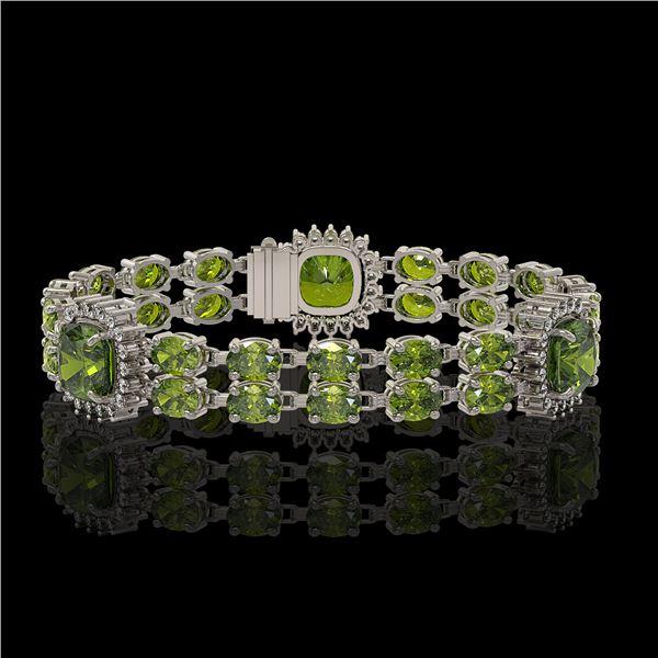 18.93 ctw Tourmaline & Diamond Bracelet 14K White Gold - REF-314X8A