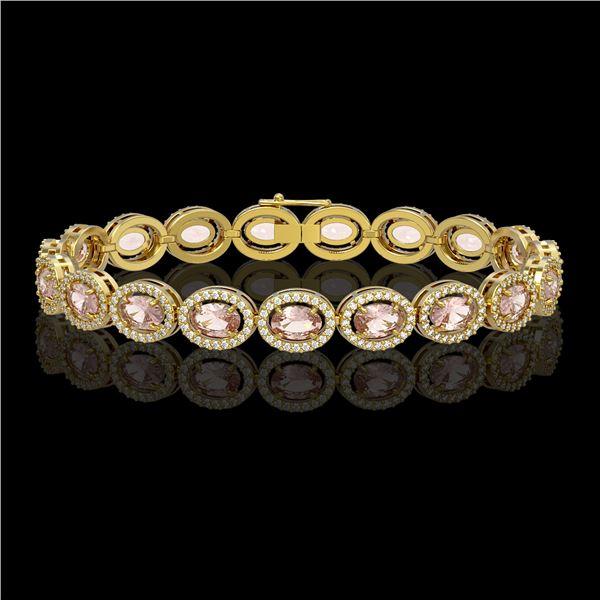 14.25 ctw Morganite & Diamond Micro Pave Halo Bracelet 10k Yellow Gold - REF-294H2R