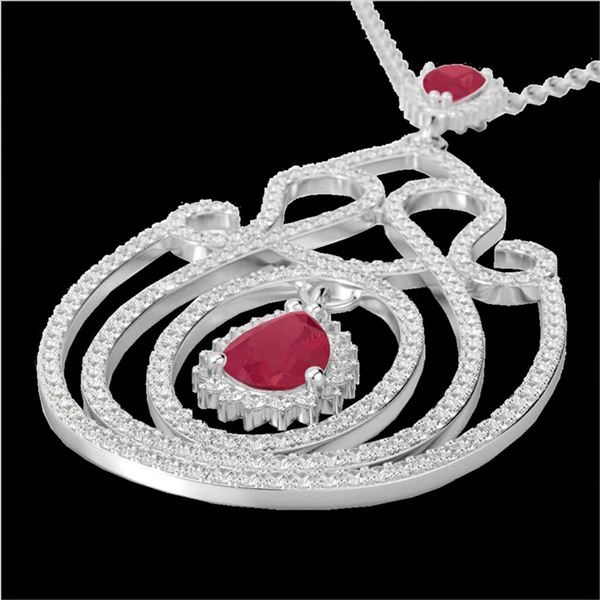 3.20 ctw Ruby & Micro Pave Diamond Heart Necklace 14k White Gold - REF-212A8N
