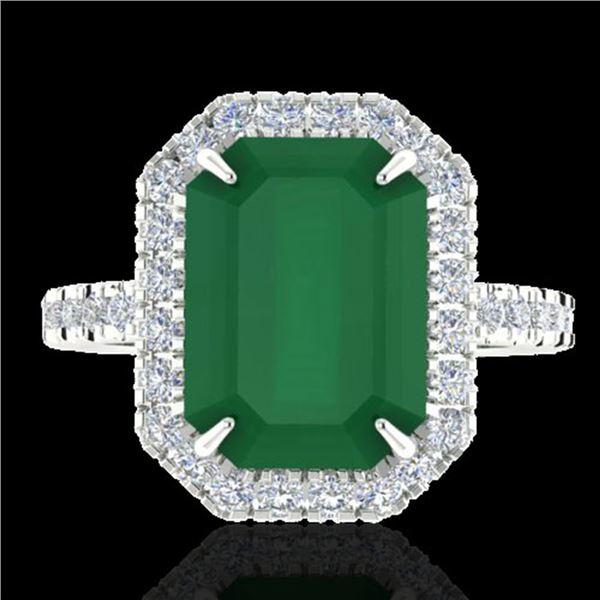 5.33 ctw Emerald & Micro Pave VS/SI Diamond Ring 18k White Gold - REF-87Y6X