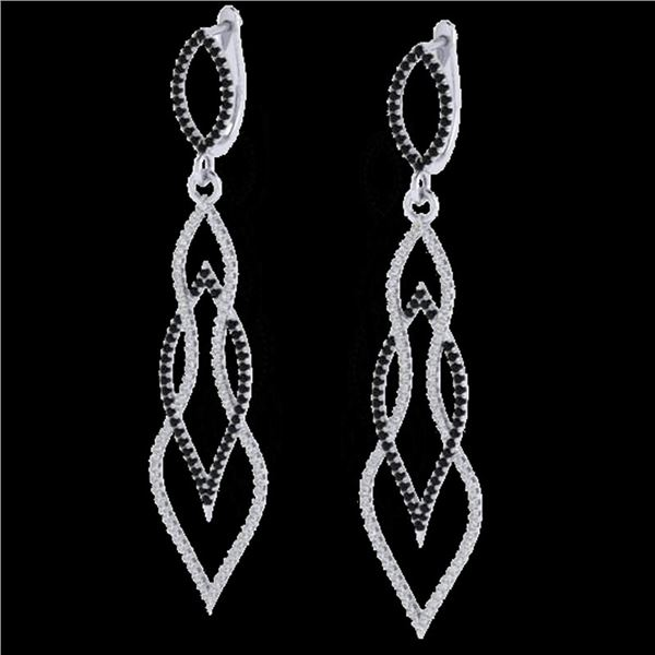 1.90 ctw Micro Pave Black & VS/SI Diamond Earrings 14k White Gold - REF-153F3M