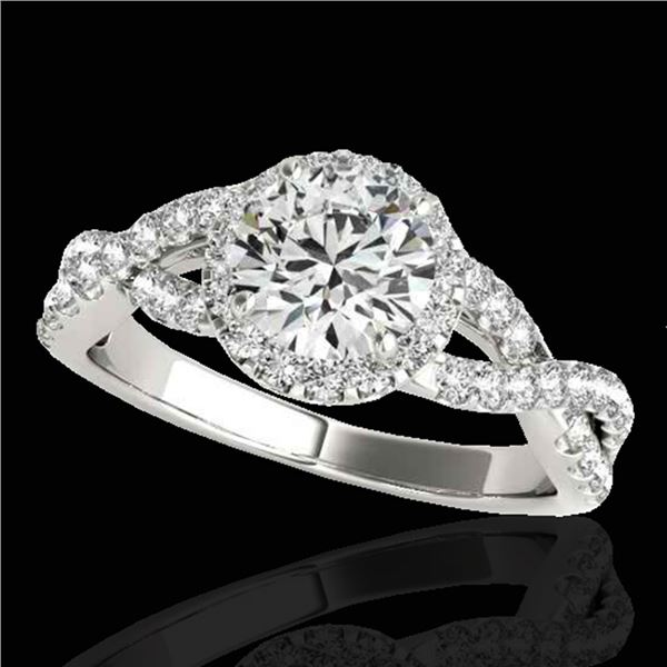 1.54 ctw Certified Diamond Solitaire Halo Ring 10k White Gold - REF-204F5M