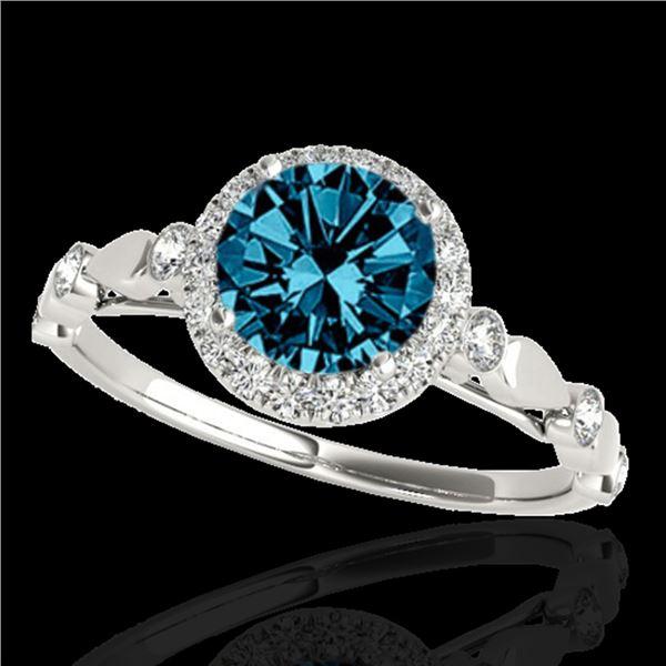 1.25 ctw SI Certified Fancy Blue Diamond Halo Ring 10k White Gold - REF-120M2G