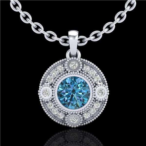 1.01 ctw Fancy Intense Blue Diamond Art Deco Necklace 18k White Gold - REF-119G3W