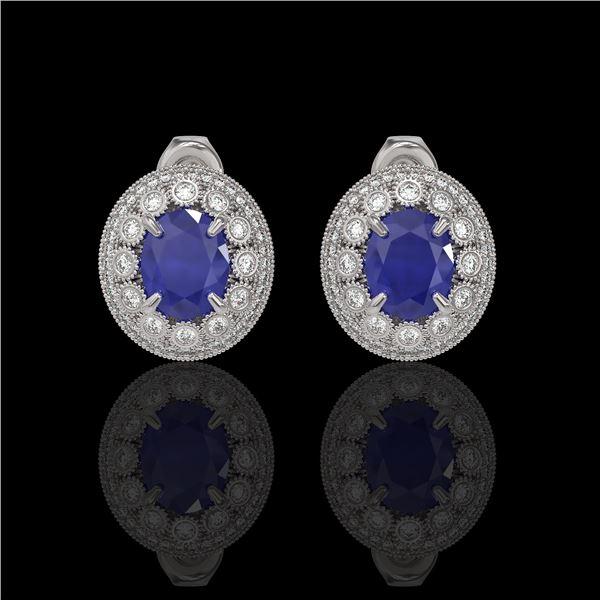 8.84 ctw Certified Sapphire & Diamond Victorian Earrings 14K White Gold - REF-214H5R