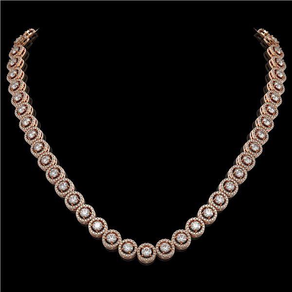 20.35 ctw Diamond Micro Pave Necklace 18K Rose Gold - REF-1600F4M