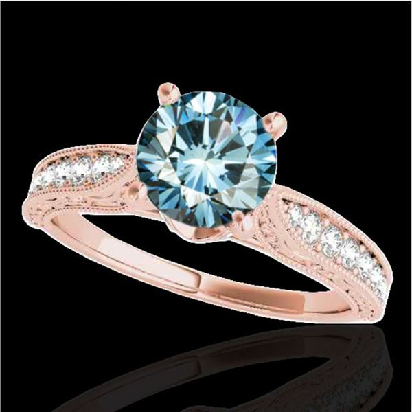 1.21 ctw SI Certified Blue Diamond Solitaire Antique Ring 10k Rose Gold - REF-121H4R