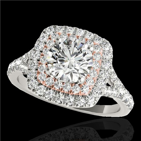 1.6 ctw Certified Diamond Solitaire Halo Ring 10k 2Tone Gold - REF-204K5Y