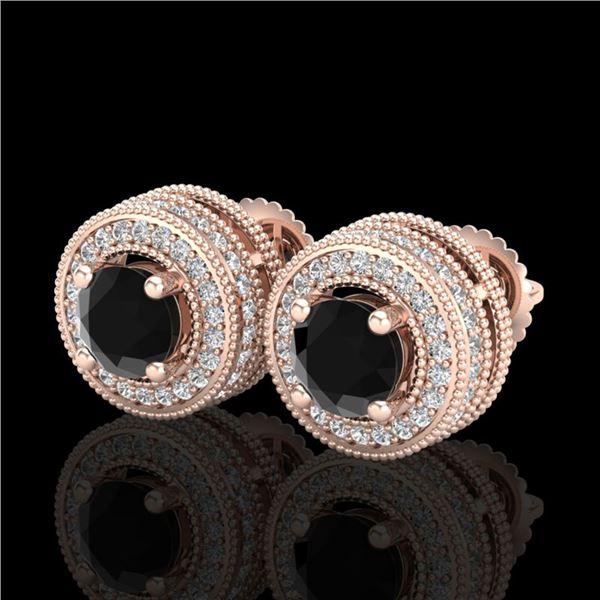 2.09 ctw Fancy Black Diamond Art Deco Stud Earrings 18k Rose Gold - REF-172F8M