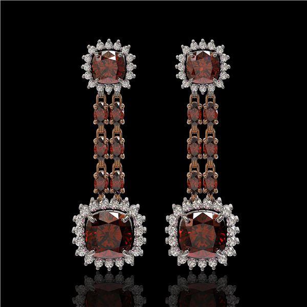 18.92 ctw Garnet & Diamond Earrings 14K Rose Gold - REF-231G5W