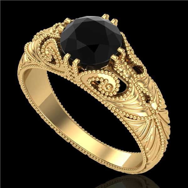 1 ctw Fancy Black Diamond Engagment Art Deco Ring 18k Yellow Gold - REF-90A9N