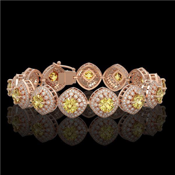 28.35 ctw Canary Citrine & Diamond Victorian Bracelet 14K Rose Gold - REF-805Y5X