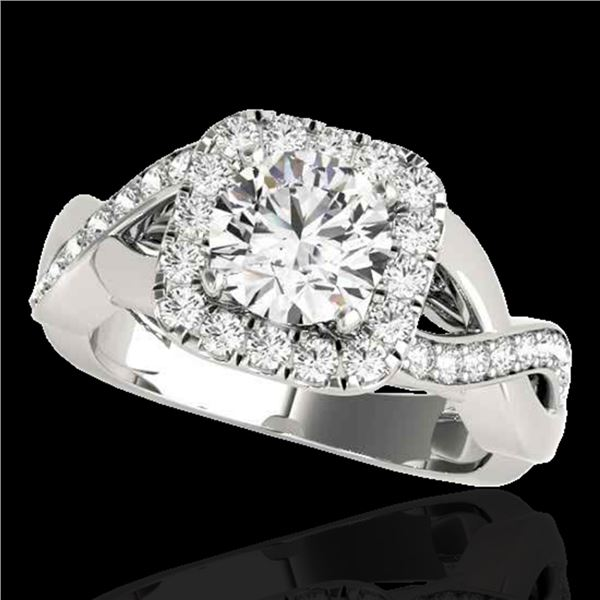 1.65 ctw Certified Diamond Solitaire Halo Ring 10k White Gold - REF-218A2N