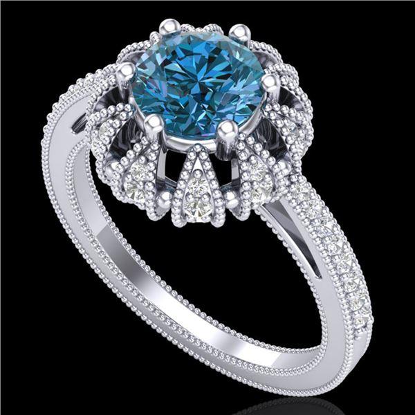 1.65 ctw Fancy Intense Blue Diamond Art Deco Ring 18k White Gold - REF-230Y9X