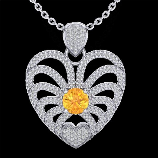 3 ctw Citrine With Micro Pave Diamond Heart Necklace 14k White Gold - REF-127R3K