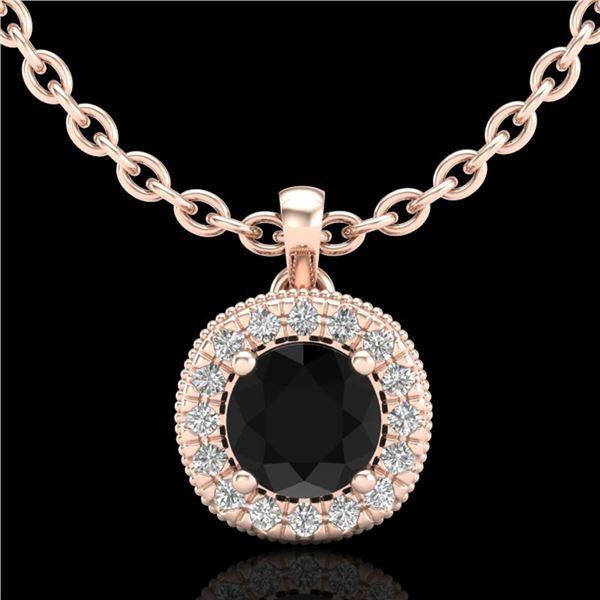 1.1 ctw Fancy Black Diamond Art Deco Stud Necklace 18k Rose Gold - REF-79H3R