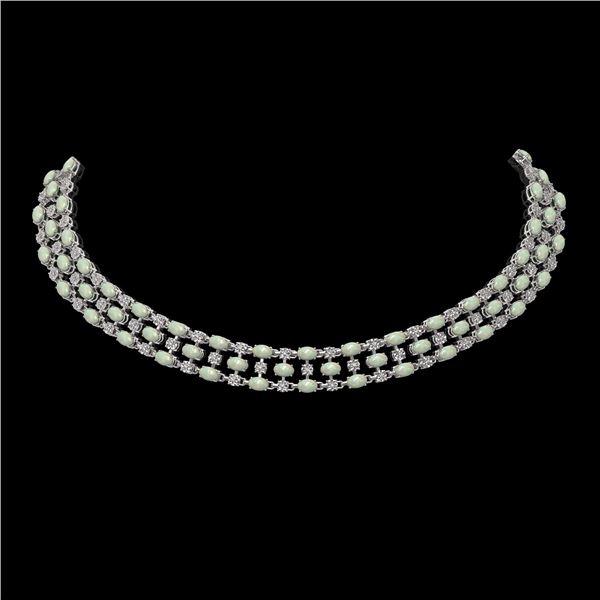 30.83 ctw Opal & Diamond Necklace 10K White Gold - REF-527F3M