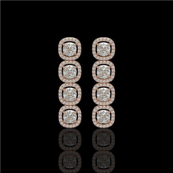 5.28 ctw Cushion Cut Diamond Micro Pave Earrings 18K Rose Gold - REF-668X2A