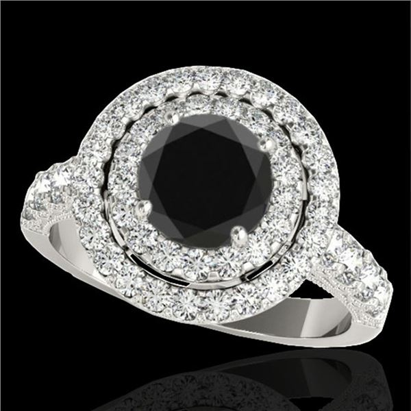3 ctw Certified VS Black Diamond Solitaire Halo Ring 10k White Gold - REF-110X3A