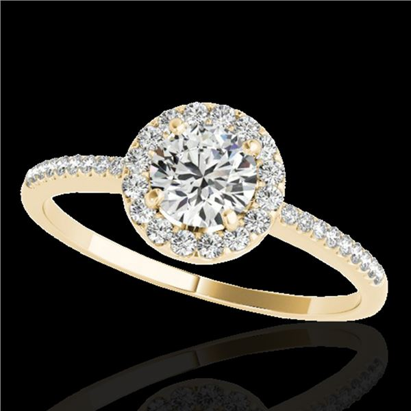 1.2 ctw Certified Diamond Solitaire Halo Ring 10k Yellow Gold - REF-190R9K