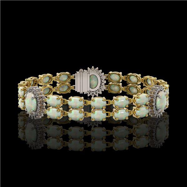 14.39 ctw Opal & Diamond Bracelet 14K Yellow Gold - REF-254R4K