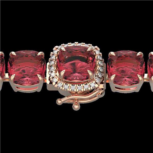 40 ctw Pink Tourmaline & Micro Diamond Bracelet 14k Rose Gold - REF-476R5K