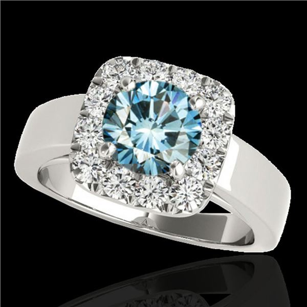 1.55 ctw SI Certified Fancy Blue Diamond Halo Ring 10k White Gold - REF-130G9W