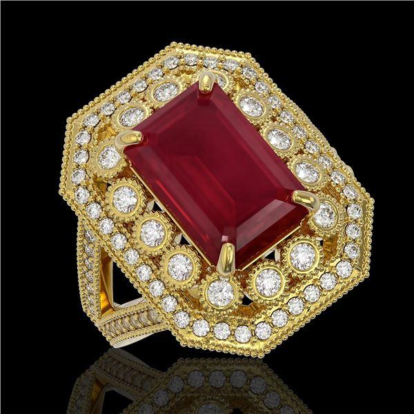 7.11 ctw Certified Ruby & Diamond Victorian Ring 14K Yellow Gold - REF-171M5G