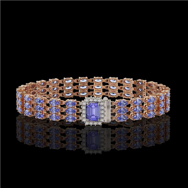 24.18 ctw Tanzanite & Diamond Bracelet 14K Rose Gold - REF-318F2M
