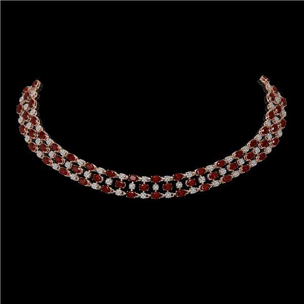 60.77 ctw Garnet & Diamond Necklace 10K Rose Gold - REF-527W3H