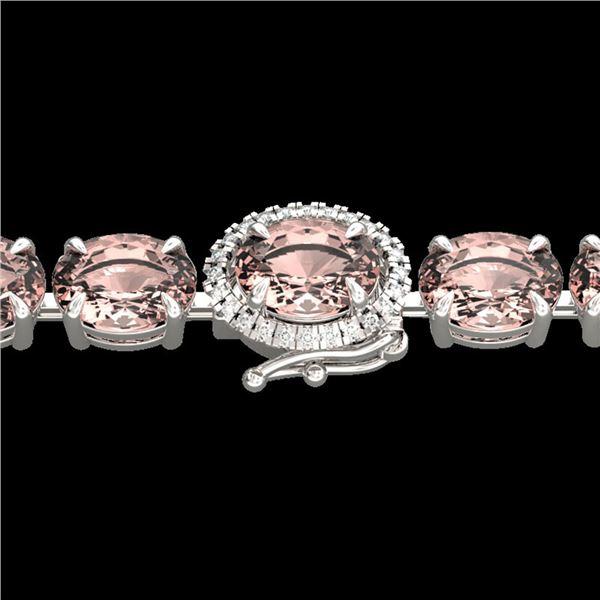 26 ctw Morganite & VS/SI Diamond Micro Bracelet 14k White Gold - REF-285K3Y