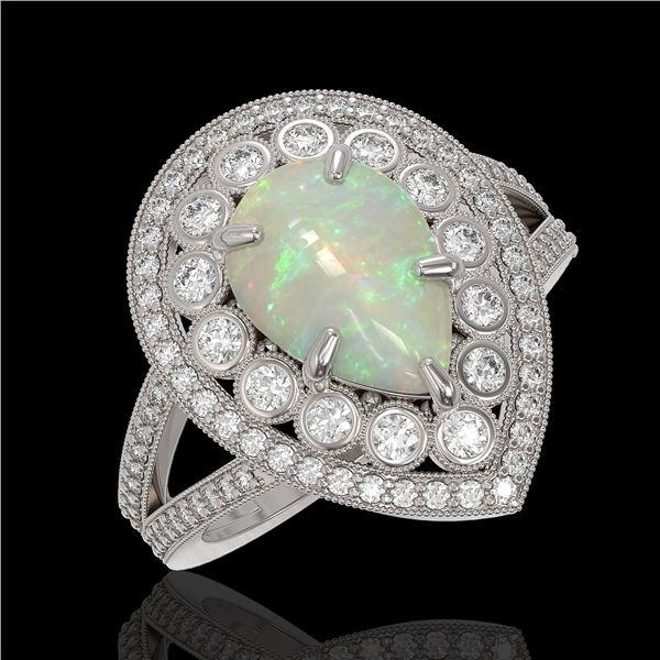 4.19 ctw Certified Opal & Diamond Victorian Ring 14K White Gold - REF-148R2K