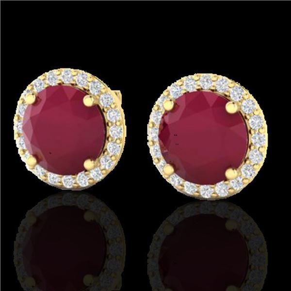 4 ctw Ruby & Halo VS/SI Diamond Certified Micro Earrings 18k Yellow Gold - REF-80W2H